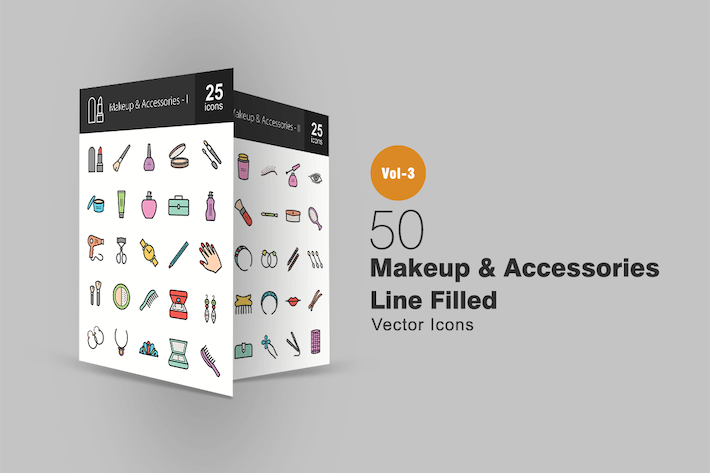 Thumbnail for 50 Makeup & Accessories Line Filled Icons