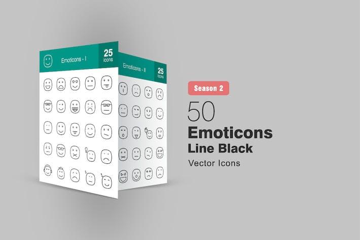 Thumbnail for 50 Emoticons Line Icons Season II