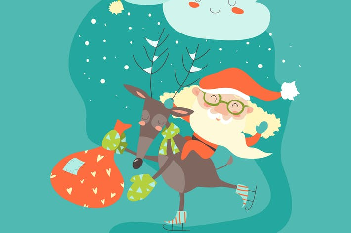 Thumbnail for Funny Santa Claus with reindeer. Vector winter