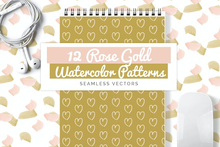 Thumbnail for Rose Gold Watercolor Seamless Vector Patterns