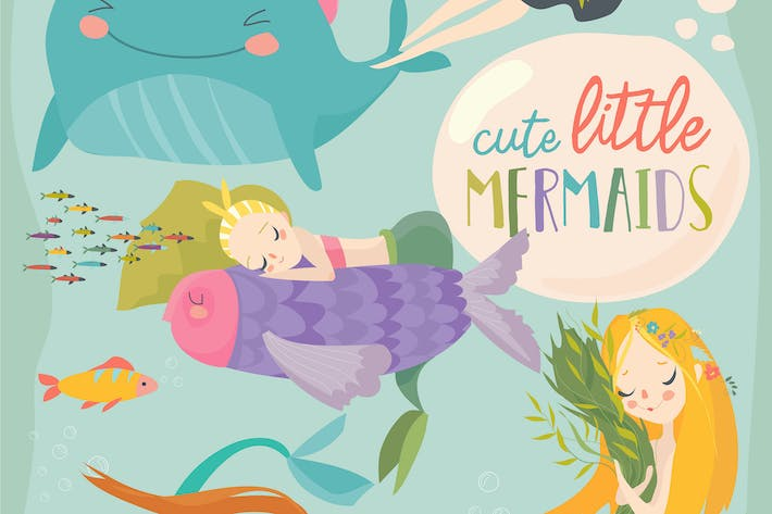 Thumbnail for Mermaid girls vector illustration. Cute cartoon ca