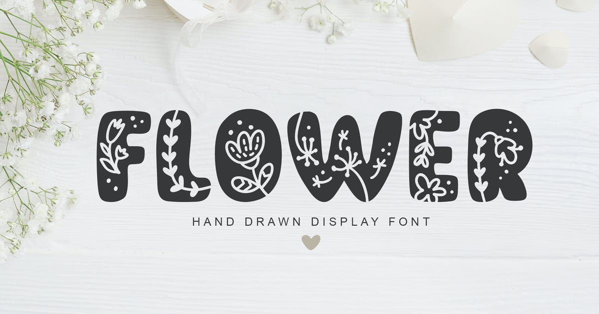 Download Flower Hand Drawn display Font by timonko