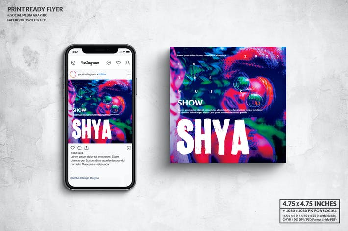 Thumbnail for Shya Music Party Square Flyer & Social Media