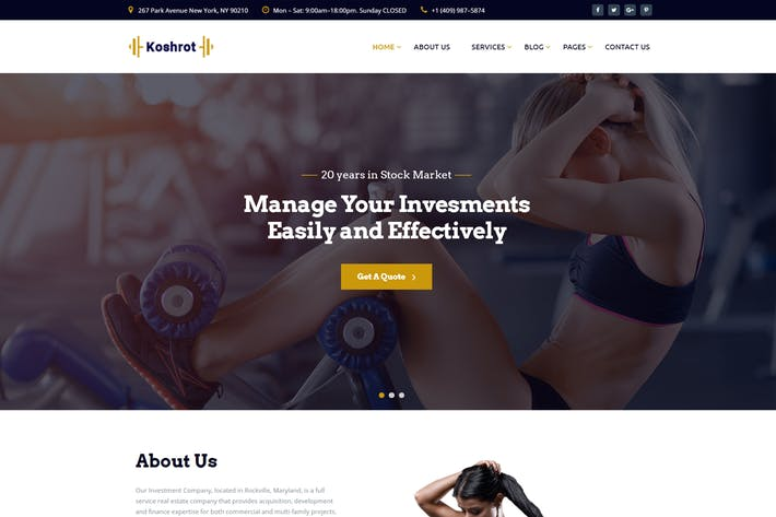 Cover Image For Koshrot - Gym Fitness HTML Template with Page Buil