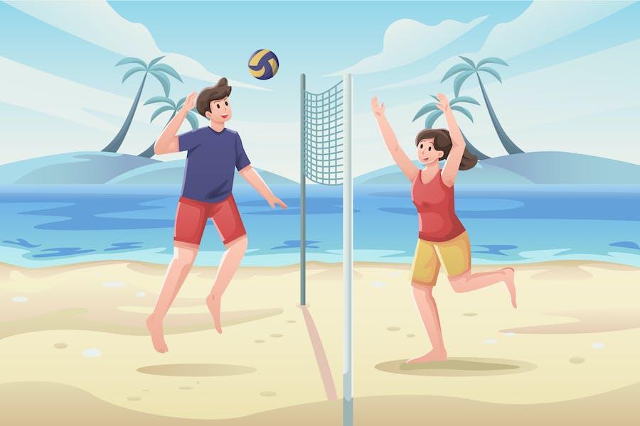 Ilustración de voleibol de playa