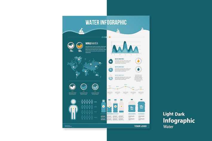 Thumbnail for Infographic Chart Elements for Clean Water