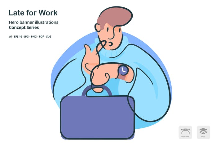 Thumbnail for Late for Work Vector Illustration