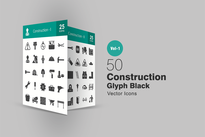 Thumbnail for 50 Construction Glyph Icons