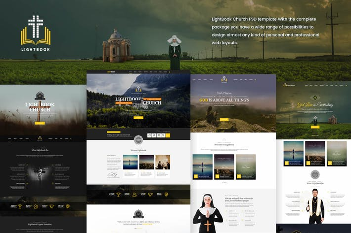 Cover Image For LightBook - Church PSD Template