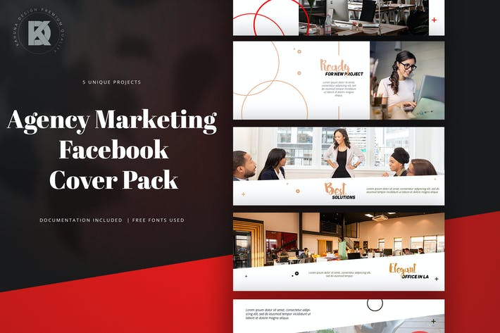 Thumbnail for Agency Marketing Facebook Cover Pack
