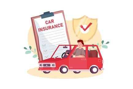 Car Insurance Illustration Concept