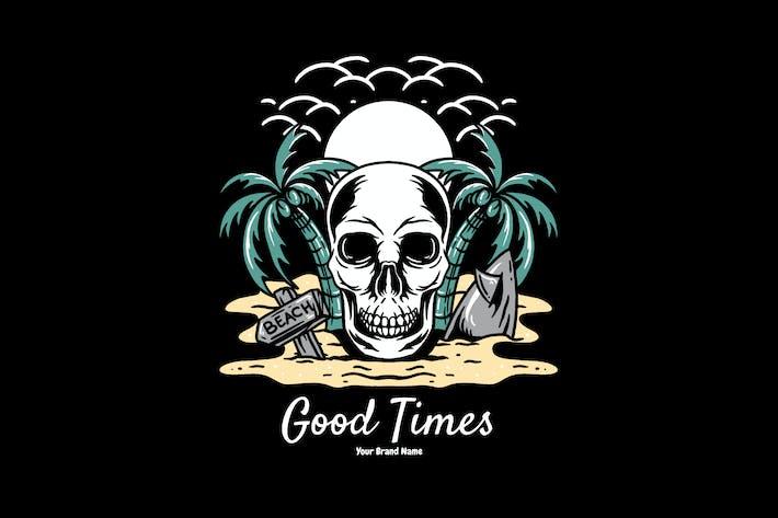 Thumbnail for skull and summer beach illustration