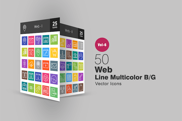 Thumbnail for 50 Web Line Multicolor B/G Icons