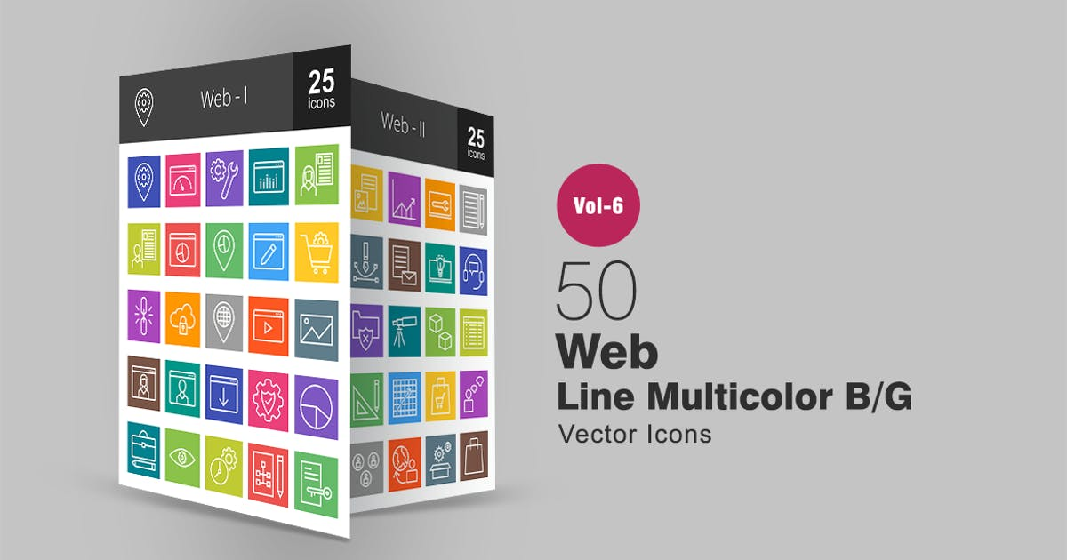 Download 50 Web Line Multicolor B/G Icons by IconBunny