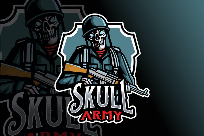 Thumbnail for Skull Army Logo Template