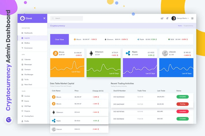 Cover Image For Cryptocurrency Admin Dashboard UI Kit