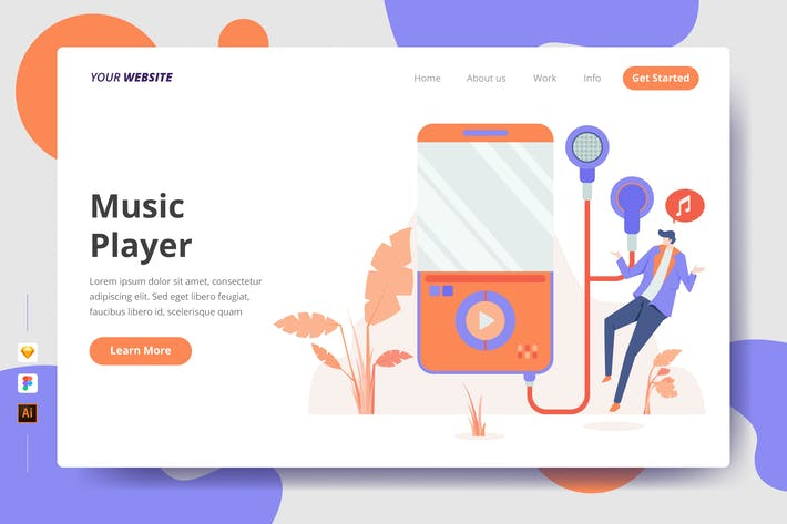 Thumbnail for Music Player - Landing Page