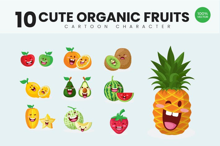 Cover Image For 10 Cute Organic Fruits Vector Illustration Vol.2