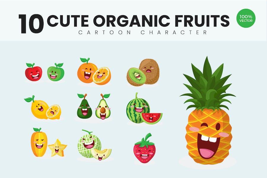 10 Cute Organic Fruits Vector Illustration Vol.2