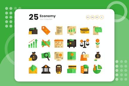 25 icono plano económico