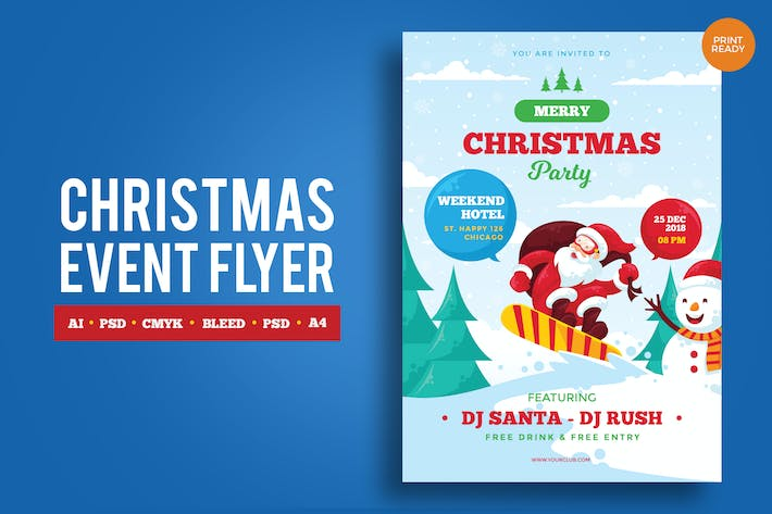 Thumbnail for Merry Christmas Event Flyer PSD and Vector Vol.1