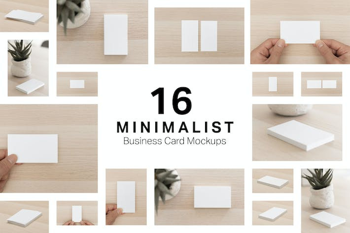 Thumbnail for 16 Minimalist Business Card Mockups