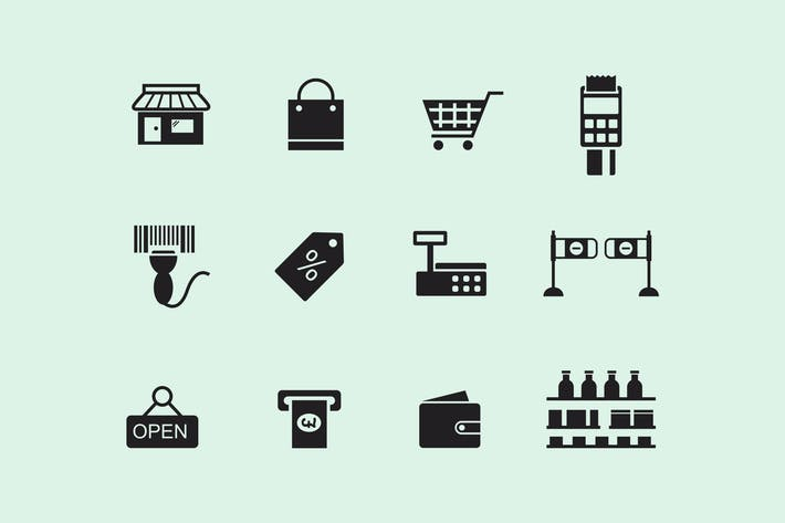 Thumbnail for 12 Supermarket Icons