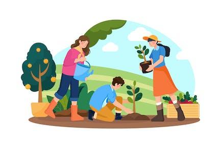 Planting Plants Illustration Concept