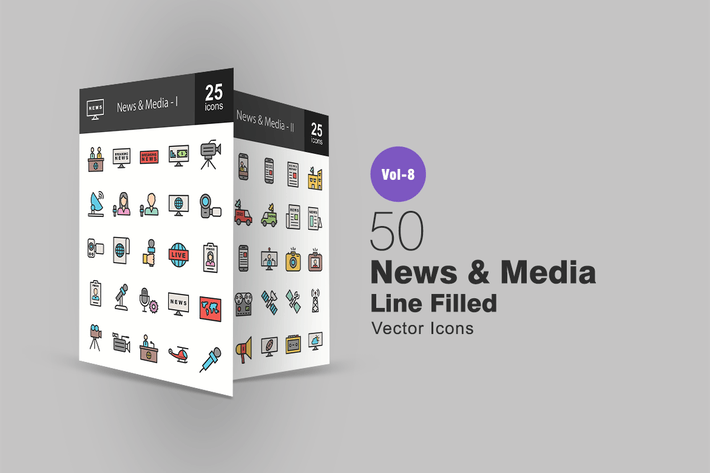 Thumbnail for 50 News & Media Line Filled Icons