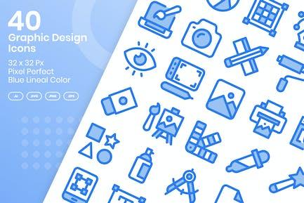 40 Grafikdesign-Ikonen-Set - blaue lineare Farbe