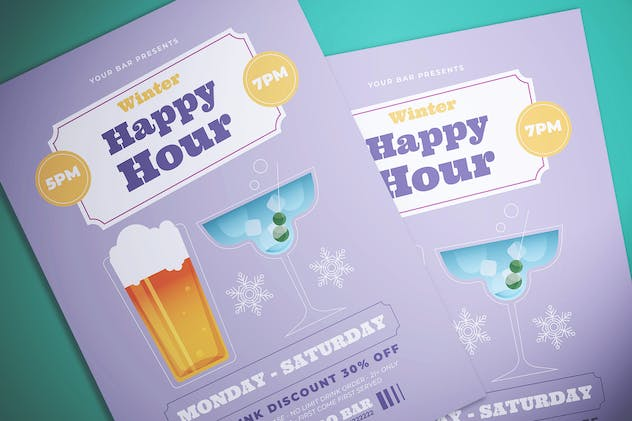Winter Happy Hour Flyer - product preview 0