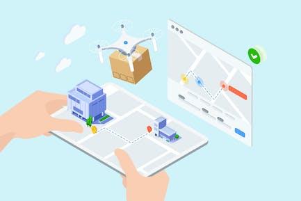 IOT Drone Delivery Isometric Illustration - TU