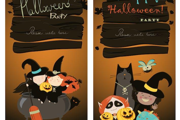 Thumbnail for Halloween Banners Set. Vector Illustration.