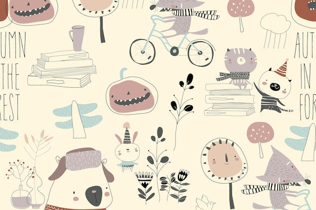 Vector seamless pattern with cute animals in autum