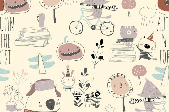 Thumbnail for Vector seamless pattern with cute animals in autum
