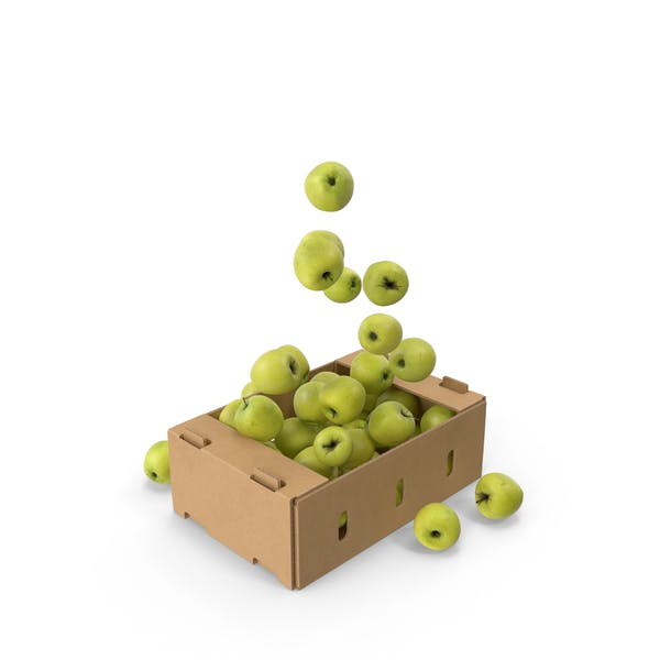 Thumbnail for Cardboard Box With Golden Delicious Apple Flying