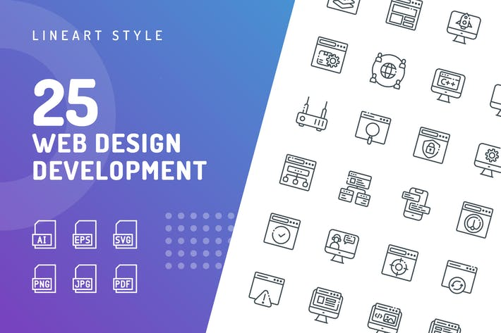 Thumbnail for Иконки линии разработки веб-дизайна
