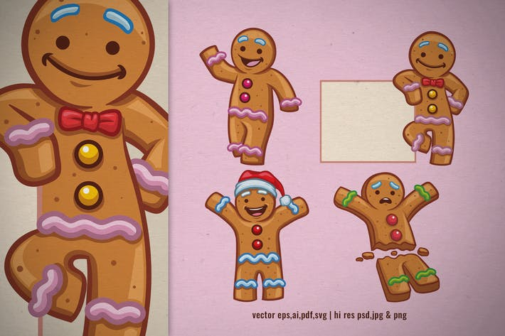 Thumbnail for set of cartoon gingerbread christmas character