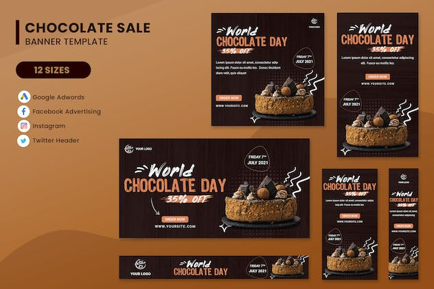 World Chocolate Day Sale Banner Ads Set Template