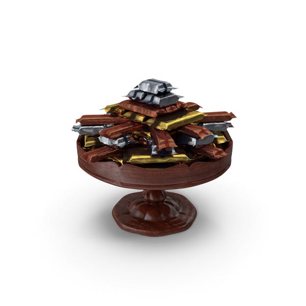 Fancy Wooden Bowl With Wrapped Mixed Candy Bars