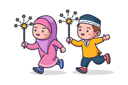 Moslem Kids Playing Fireworks