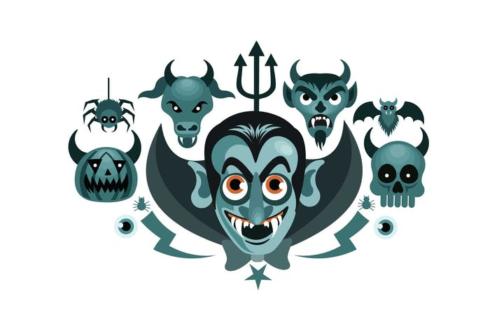 Thumbnail for Set of Halloween Graphics Spooky Vector Illustrati