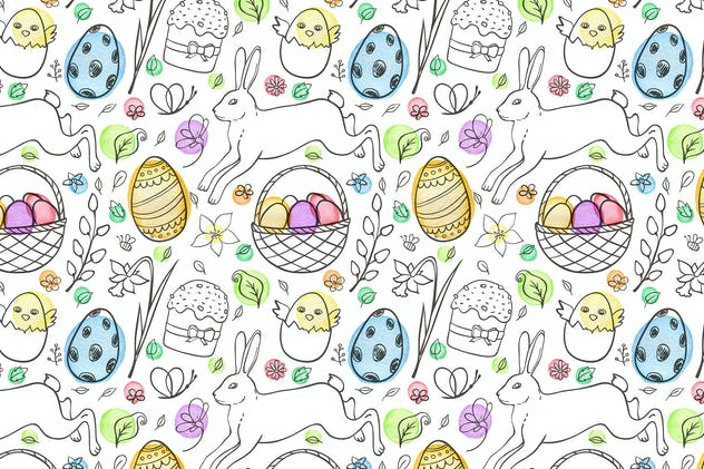 Doodle Easter Seamless Pattern