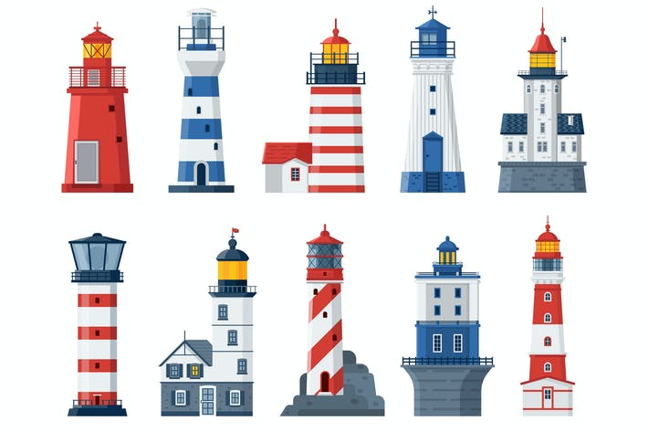 Thumbnail for Flat Lighthouses and Sea Guide Lights