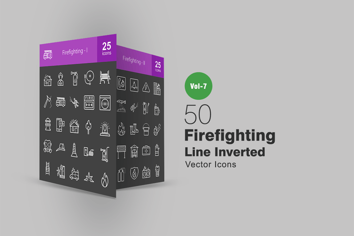 Thumbnail for 50 Firefighting Line Inverted Icons