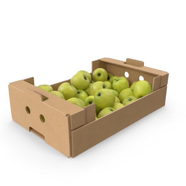 Cardboard Box With Golden Delicious Apple Full