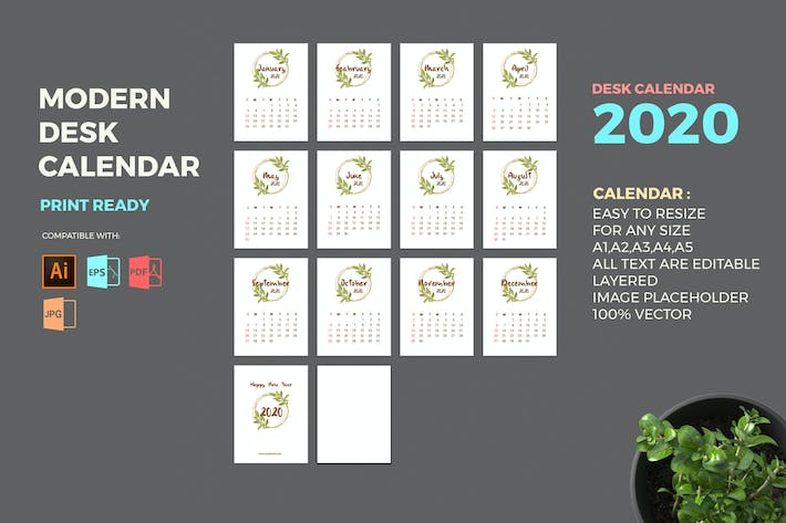 Thumbnail for Modern 2020 Desk Calendar Pro