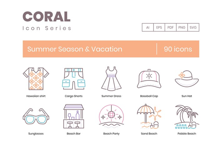 Cover Image For 90 Summer Season & Vacation Line Icons