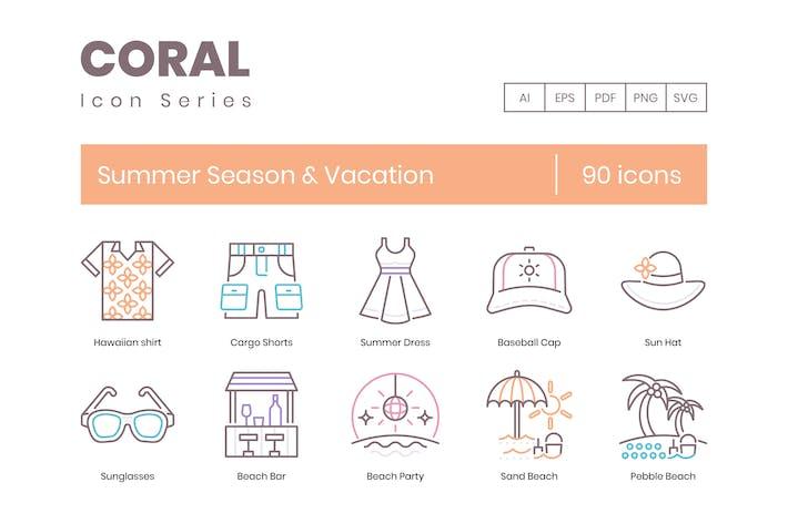 Thumbnail for 90 Icons für Sommersaison & Urlaubslinie
