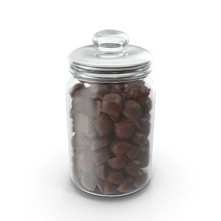 Jar with Mini Chocolate Candies